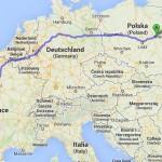 Warschau-Toulouse ca. 2.200 km